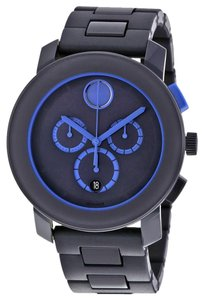 Movado Navy Blue Stainless Steel Chronograph Designer MENS Casual Watch
