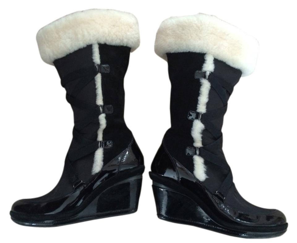 Cole Trim Haan Black Patent/Suede Fur Trim Cole Style Number F9d29273 Boots/Booties b6829a