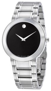 Movado Black Dial Silver tone Stainless Steel Designer MENS Casual Dress Watch