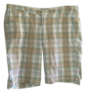Abercrombie & Fitch Bermuda Bermuda Shorts Teal, Tan, White Plaid