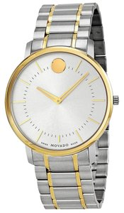 Movado Two Tone Gold and Silver Stainless Steel Designer MENS Casual Dress Watch