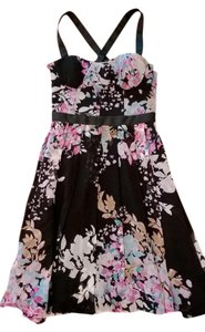 bebe Black Pink Flowy Dress
