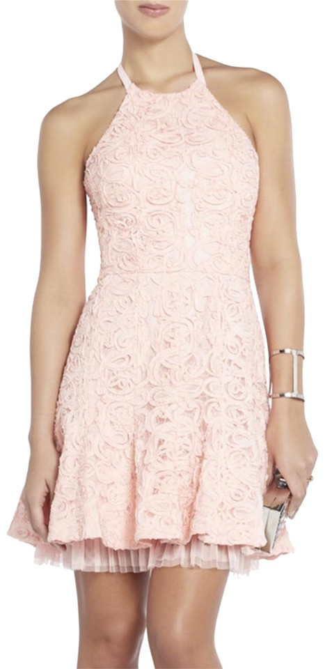 8084a32b7d555 BCBGMAXAZRIA Light Shell Pink Sleeveless Halter Neck Tulle Lined Flared  Skirt Basanti Mid-length Short Casual Dress Size 8 (M) 80% off retail