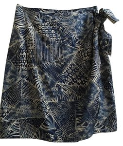 Dana Buchman Silk Wraparound Floral Summer Mini Mini Skirt Blue