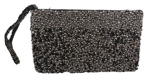 Other Black Black Face Beaded Black/Silver Clutch