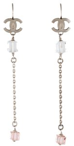Chanel Silver-tone Chanel CC faceted cube bead drop earrings