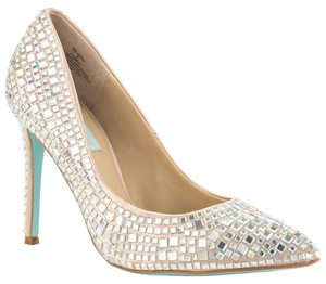 Betsey Johnson Heels Embellished Champagne Satin Pumps