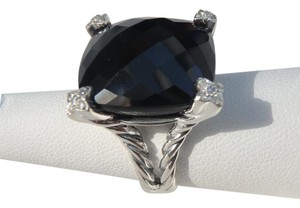 David Yurman 20mm onyx cushion on point ring size 6.5 like new