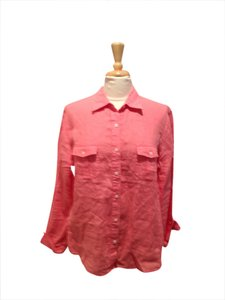 Talbots Linen Button Down Shirt Coral