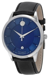 Movado Blue Dial Black Leather Strap Designer MENS Luxury Dress Watch