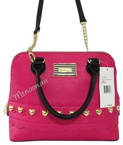 Betsey Johnson Satchel in Fushia Black