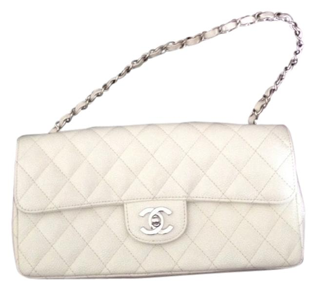 Item - East West White Caviar Leather Baguette