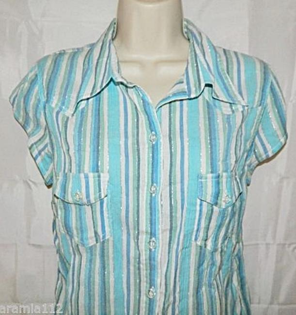 H&M Shirt Size12 Buttonfront New Button Down Shirt Blue White Silver Image 2