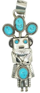 M. ORTIZ NATIVE AMERICAN AUTHENTIC SIGNED M. ORTIZ TURQUOISE 925 STERLING SILVER KACHINA CHARM