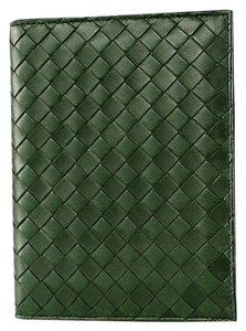 Bottega Veneta Bottega Veneta Agenda Intrecciato Leather Emerald Green Authentic