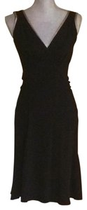 Prada short dress Black with Gold Trim Sleeveless Size 6 on Tradesy