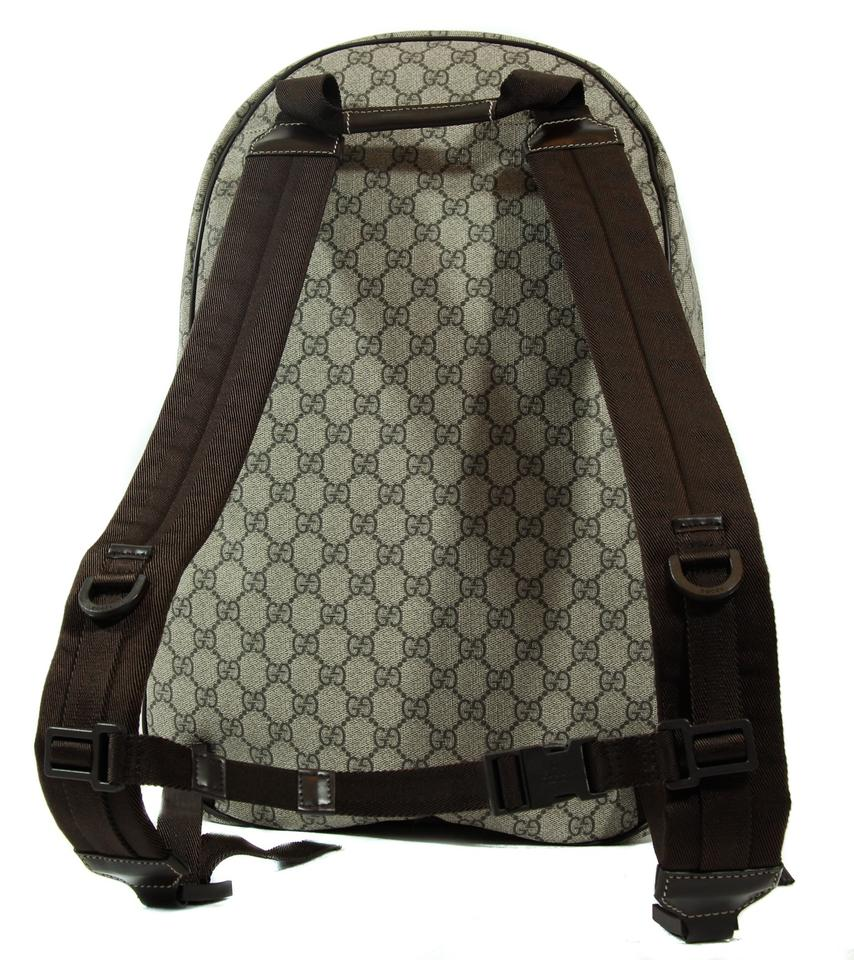 565242917 Gucci 223705 Supreme Canvas Interlocking G Beige/Ebony/Brown Gg Plus with  Leather Trim Backpack - Tradesy