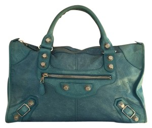 Balenciaga Turquiose Silver Leather Work Satchel in Blue