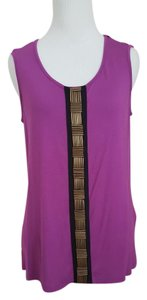 Jaclyn Smith Embellished Tank New Metal Top Purple