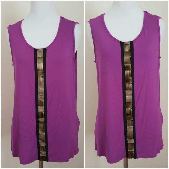 Jaclyn Smith Embellished Tank New Metal Top Purple Image 4