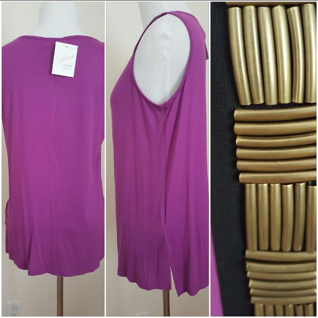 Jaclyn Smith Embellished Tank New Metal Top Purple Image 5