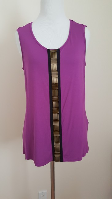 Jaclyn Smith Embellished Tank New Metal Top Purple Image 7
