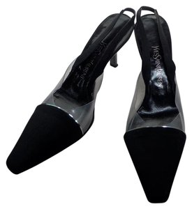 Saint Laurent Yves And Clear Pvc Square-toe Sling-backs Black Pumps