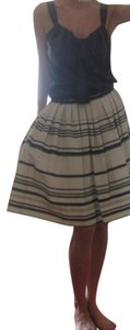 Robert Rodriguez Couture Runway Pleated Skirt off white natural linen w black and grey stripes