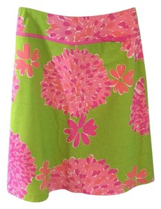 Lilly Pulitzer Skirt Lime Green/Pink Floral
