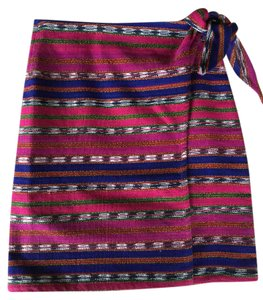Neiman Marcus Bold Stripe Bohemian Textured Mini Skirt Multi