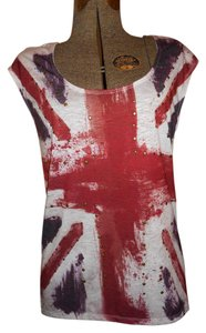 Rock & Republic Studded British Flag Sleeveless T Shirt white, blue & red