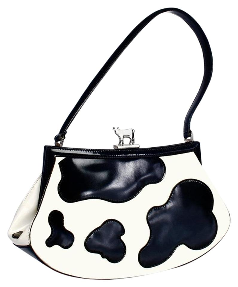Moschino Cow Print Jeremy Scott Limited Edition Black White Patent Leather Satchel 62 Off Retail