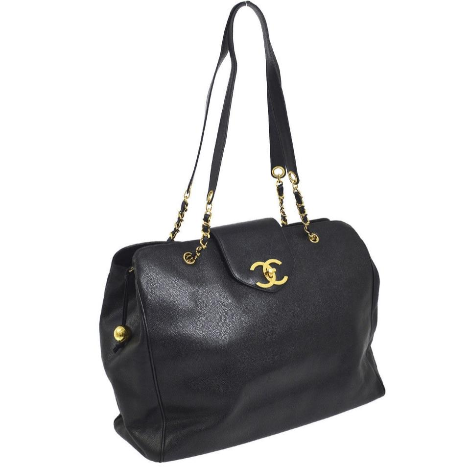 c3a984c358f8 Chanel Supermodel Gold Chains Hardware Black Caviar Leather Weekend ...