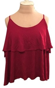 Forever 21 Ruffle Layers Cotton Top Red
