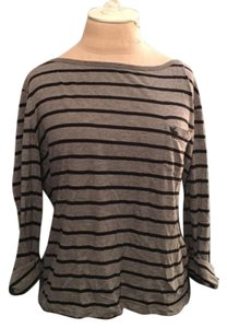 Abercrombie & Fitch Cotton Striped T Shirt Gray/Navy
