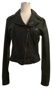 Express Leather Cropped Length Waist Length Motorcycle Jacket