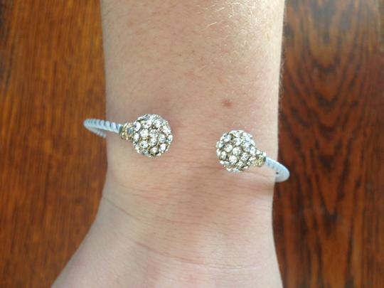 Other Colored Cable Cuff Bracelet with Rhinestone Pave Balls