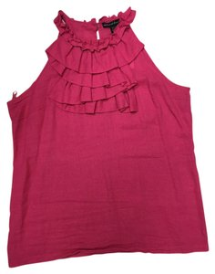Marina Luna Ruffles Sleeveless Linen/cotton Summer Top Pink