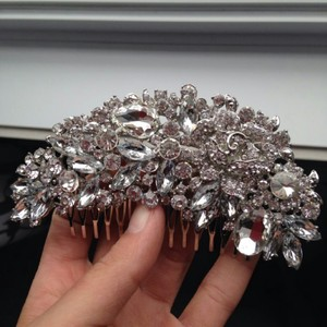 9.2.5 Wedding Bridal Hair Comb Crystal Rhinestone Vine Leaf Large Big Bling Jewelry Hair Piece Bridesmaids Large Clear Silver