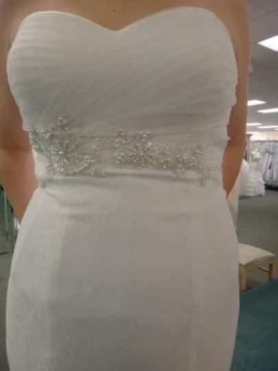 David's Bridal Ivory Imported Polyester Strapless Sweetheart Gown W/ Beaded Waist Style Wg3436 Formal Wedding Dress Size 10 (M)