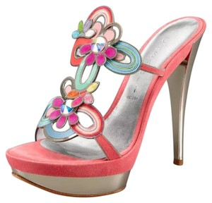 Casadei Sandals Flowers Pink Mules