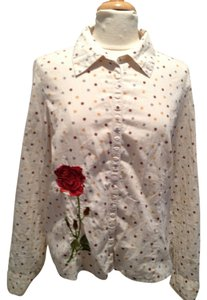 Johnny Was Polka Dot Embroidered Button Down Shirt Cream, Mustard, Slate, Crimson, Red, Green