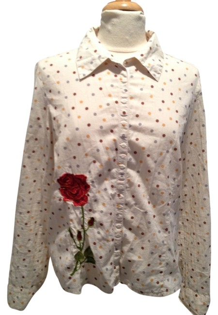 Item - Cream Mustard Slate Crimson Red Green Polka Dot Embroidered Large Button-down Top Size 12 (L)