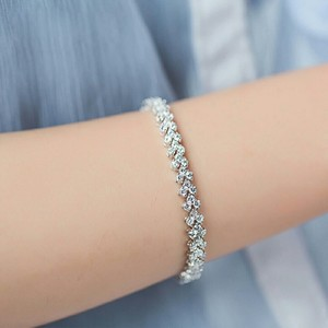 9.2.5 Silver Tennis Bracelet Link Chain Heart Diamonds Easy Bling Jewelry Wedding Bridal