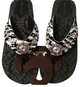 Montana West Black, white, Rhinestones Sandals