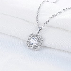 9.2.5 2925 Jewelry Diamond Cz Necklace Bling Jewelry Wedding Crystal Rhinestone 2 Carat Square 16 Inch Chain Link Statement