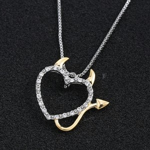 9.2.5 Heart Diamond Cz Silver Pendant Chain Gold Accent Mother Daughter Family Gift Bridesmaids Pave Necklace