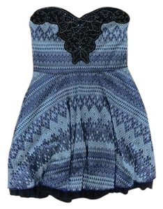 Free People short dress Blue, Black Boho Chic Strapless Embellished Embroidered on Tradesy