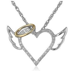 9.2.5 Angel Devil Statement Diamond Cz Silver Necklace Sterling Heart Family Chain 16-inch Bridal Wedding Gift Mother Daughter
