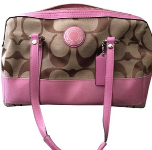 Coach Satchel in Pink and Tan